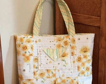 Charm Square Tote, Patchwork Tote, Quilted Tote,  Bags, Purses, Totes,  Tote Bag , Shopper Tote,  Sunflowers, Honey Bees,  Bee my Sunshine