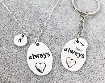 Matching Keychain Necklace Custom Couples Set of Two, Anniversary Gift Set, Gift For Boyfriend, Gift For Girlfriend,Always Jewelry Gift