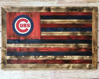 Customizable chicago cubs flag - wooden - ready to hang (Other teams available)