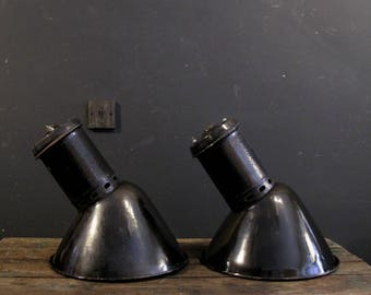 Industrial enamel angled light shades