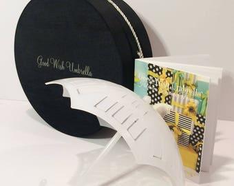 Good Wish Umbrella® Bridal | baby Shower Time-Honored Beribboned Novelty and Generational Memoir Guide-Book 3 Piece Gift Set (Black Taffeta)