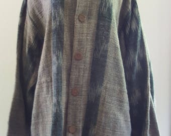 Yasuko Kurisaka Blue -Gray woven cotton tunic jacket