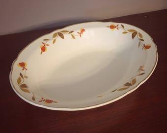 Vintage Hall's Superior Jewel Tea Co. Autumn Leaf Ruffled Oval Vegetable Bowl