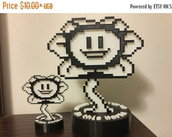 AUGUST SALE Good and Evil Flowey , Undertale , Two sides , complete with stand.