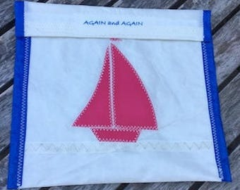 Accessories Pouch - made from recycled sails - Pink Boat
