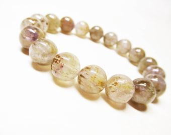 Cacoxenite Bracelet 10mm Cacoxenite Beads Cacoxenite in Quartz Genuine Stone Bracelet Gemstone Bracelet Spiritual Bracelet Mens Bracelet