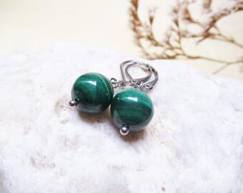 Malachite Earrings Angel Stone Gemstone Earrings Dangle Earrings Charm Earrings Malachite Jewelry Malachite Charm Angel Jewelry NaturalStone