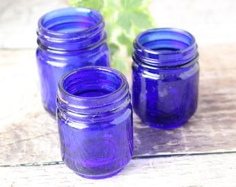 Set of 3 Vintage Glass Ointment Bottles, Blue Glass Bottles, Vintage Blue Glass, Vintage Bottles, Vintage Jars
