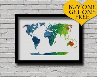 Cross Stitch Pattern World Map Silhouette Watercolor Effect Decor Embroidery Rainbow Color World Map Poster xstitch Diy Printable Chart