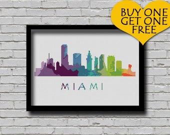 Cross Stitch Pattern Miami Florida City Silhouette Watercolor Effect Decor Modern Embroidery Usa City Skyline Art xstitch Diy Chart