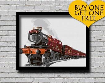 Cross Stitch Pattern Hogwarts Express Printable Pattern Harry Potter Childern's Book Theme Xstitch Train Pattern Wall Art Diy Gift