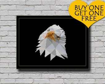 Cross Stitch Pattern Bald Eagle Geometric Animal Bird of Prey Nature Inspired Animal Embroidery Modern Decor Polygonal Eagle