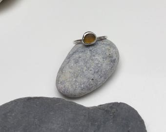 Seaglass Ring, Amber Sea Glass Ring, Sterling Silver Stacking Ring, Sea Glass Jewelry, Sea Glass Ring, Yellow Seaglass Ring