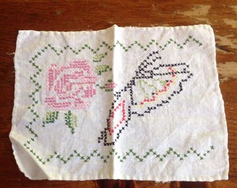 Vintage hand stitched rose and butterfly hankerchief