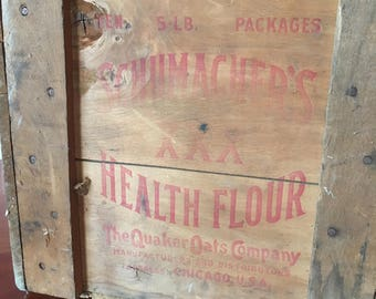 Antique Wood Crate Wooden Quaker Oats Crate Vintage Wooden Crate Shipping Crate Advertising Crate Wooden Shipping Crate Wood Crates