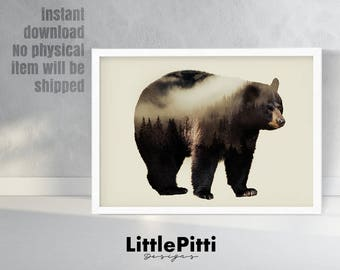 Black bear decor, black bear art, bear print, bear double exposure, double exposure art, digital wall art, minimal wall art, woodland animal
