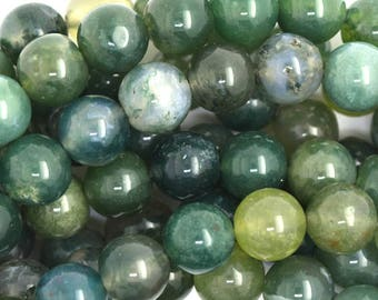 "8mm green moss agate round beads 15"" strand 36660"