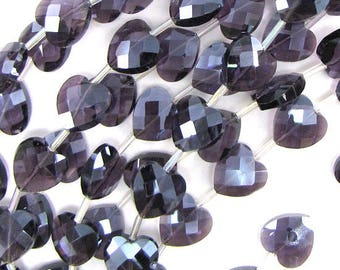 """6x14mm faceted crystal heart beads 7.5"""" strand lavender 17756"""