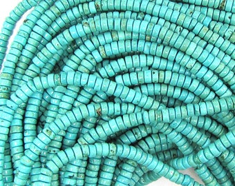 "4mm - 4.5mm blue turquoise heishi beads 16"" strand 32439"