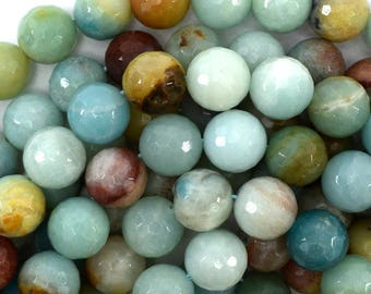 """12mm faceted amazonite round beads 15"""" strand 39142"""