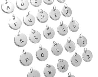 16mm ALLOY Mirror Stamped Tags ABC To Z Jewelry Round Circle Supplies Crafting Findings Do It Yourself Diy Wholesale Charms Bangle Metal