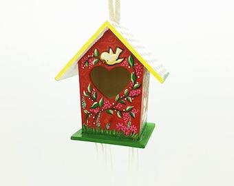 Birdhouse,Decorated birdhouse,Hand painted wood decor,Colorful birdhouse,Spring landscape painting,Spring decor,Housewarming gift,Garden