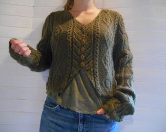 Khaki Wool Cardigan, short.