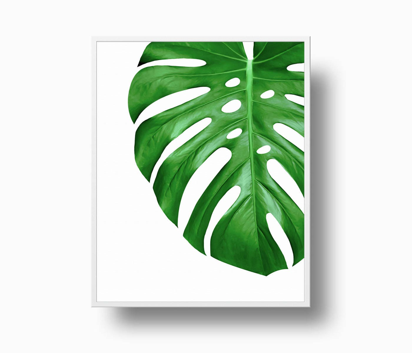 Watercolor Green Plants Monstera Nature Posters And Prints: Monstera Leaf Print Green Leaf Print Tropical Philodendron
