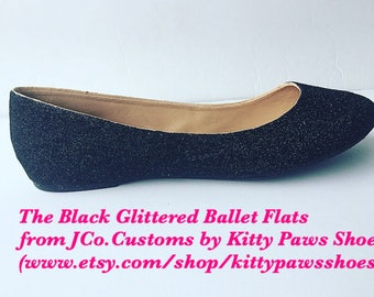 Women's Black Glittered Ballet Flats from JCo.Customs by Kitty Paws Shoes