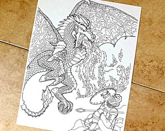 Dragon, coloring page, knight, midevil, reptile, fire, breathing, wings, flying, action, shield, armor, lance, spear