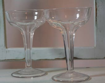 Toasting Stems, Hollow Stemware, Set of Two, Champagne Coupe, Wedding Toast, Art Deco, Bachelor Pad, Retro Barware,
