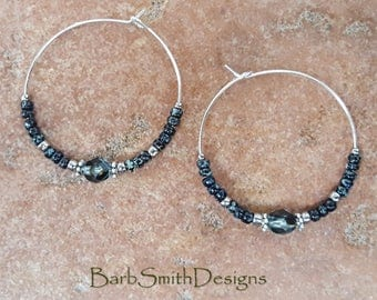 "Beaded Black and Blue Silver Crystal Hoop Earrings, Large 1 3/8"" Diameter in Black Waters"