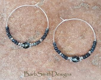 """Beaded Black and Blue Silver Crystal Hoop Earrings, Large 1 3/8"""" Diameter in Black Waters"""