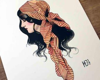 Tattoo Flash fine art print Gypsy girl A4