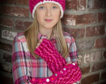 crocheted arm warmers.