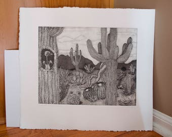 Where the Cacti Lie - Etching Intaglio Print