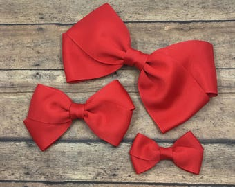 Red Hair Bow on Metal Clip, Elastic Headband or Hair Tie, Buy 3 Get 1 Free! Large Red Hair Bow, Red Grosgrain Bow, Small Red Hair Bow