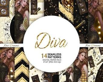 SALE 50% OFF Diva Music Lover Fashion Seamless Digital Paper Fashion Illustration African American Asian Latina Singer Musician Artist Music
