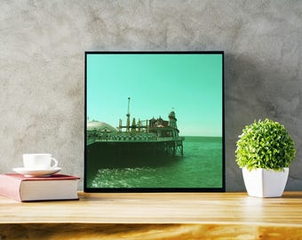 Fairground Summer Fine Art Photography, Blue Wall art,Seascape Beach Photography, Square Print, green, Helter Skelter