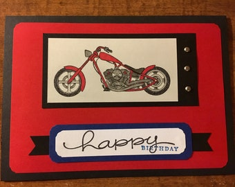 Happy Father's Day Handmade one of a kind Card blank inside motorcycle dad