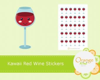 Kawaii Red Wine Stickers, Kawaii Stickers, Red Wine Stickers, Wine Night Stickers, Planner Stickers
