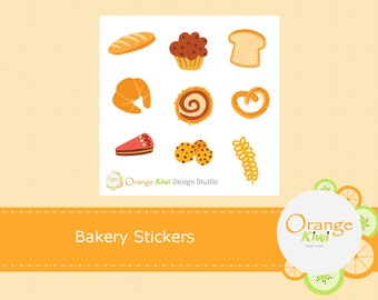 Bakery Stickers, Baked Goods Stickers, Sampler Stickers