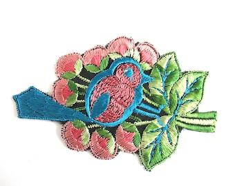 Antique 1930's Silk Blue Pink Bird Applique Vintage Patch Sewing Supply Crazy Quilt. #6ADG9AK4