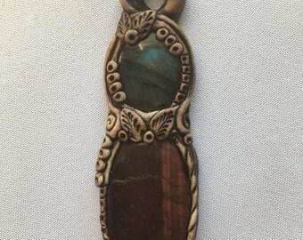 Labradorite & Red Tiger Eye Necklace
