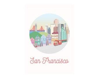 San Francisco, SF, California, city art, city, illustration, art print