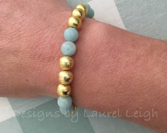 GOLD and BLUE AMAZONITE Beaded Bracelet | gemstone, aqua, high quality, gold plated, stretchy, Designs by Laurel Leigh