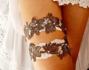 Wedding Garter Brown, Bridal Garter Set, Brown Garter Set, White Lace Garter, Brown Bridal Garter, Handmade Garter,Wedding Accessories, Gift