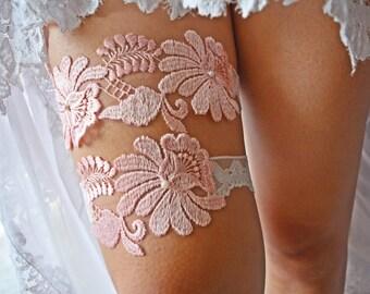 Wedding Garter Set, Bridal Garter Set, Pink Lace Garter, Pink Garter, Garter Pink, Wedding Garter Belt, Pink Garter Wedding, Garter Bridal