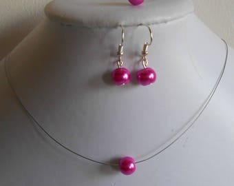 Set of 3 wedding pieces Pearl solitaire fuchsia