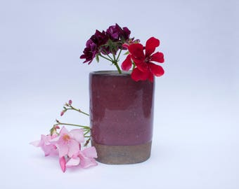 Ceramic vase, small red flower holder, modern handmade vase, unique handcrafted homewares, original gift idea, red stoneware pottery vase